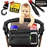 [Newest 2018] Best Stroller Organizer Stroller Accessories + Bonus Stroller Hook - Shoulder Strap & Baby on Board Sticker | with Insulated Cup Holders - Perfect for Jogging - Travelling or Shopping