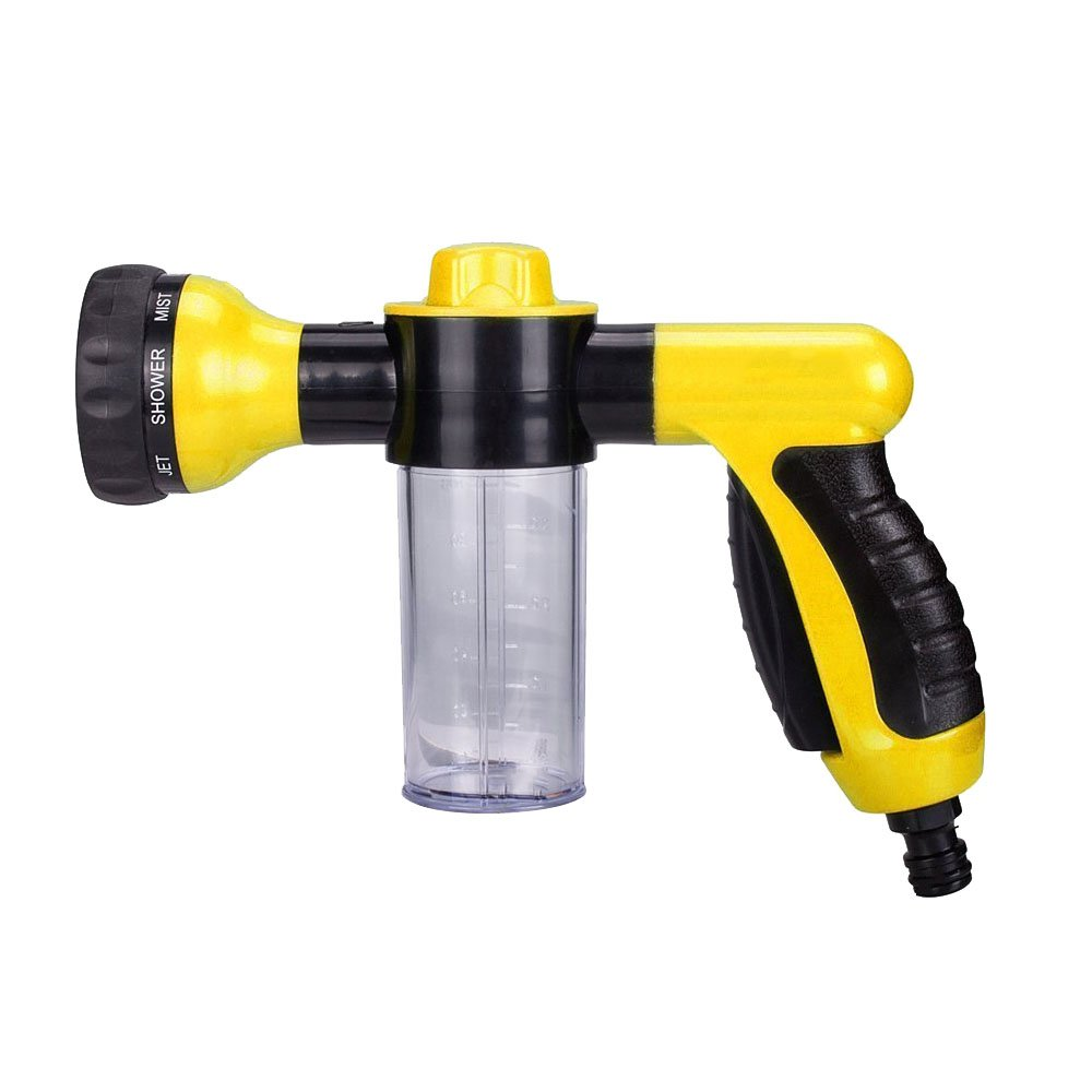 Meoro Garden Hose Nozzle - Hand Spray Nozzle, Car Washer Water Gun Heavy Duty 8 Adjustable Watering Patterns, Best for Watering Plants & Lawn, Patio, Car Wash, Showering Pets with Connector