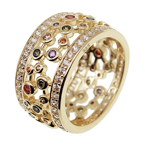 Ring Gold Stone Multi (Yellow Gold Rings Multi Gemstone Wedding Bands for Women Size 7 8 9# (8))
