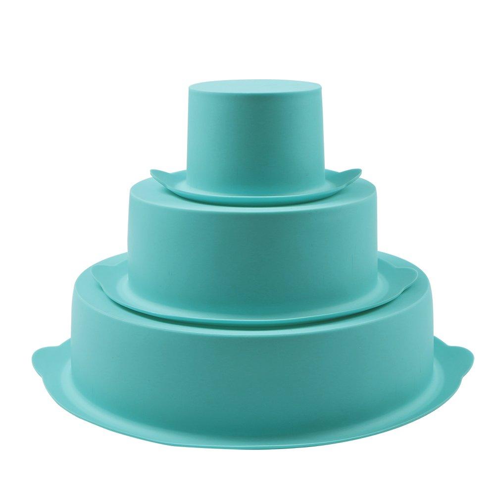 Webake 3 Tier Round Cake Mold Layer Cake Mold Bakeware Set for Birthday Party Wedding Anniversary SYNCHKG119091