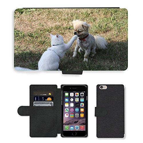 "Just Phone Cases PU Leather Flip Custodia Protettiva Case Cover per // M00129066 Chat Cat épagneul tibétain // Apple iPhone 6 PLUS 5.5"""
