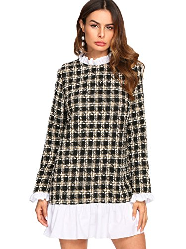 Block Collar and in SheIn 2 Color Dress 1 Sweater Women's Plaid Contrast Basic Hem xYqEEwFTU