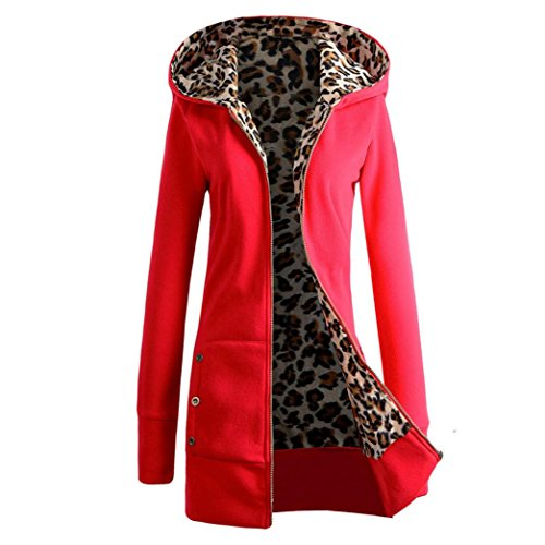 Price comparison product image Mchoice 1PC Women Plus Velvet Thickened Hooded Sweater Leopard Zipper Coat (S,  Red)
