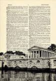 Fairmount Water Works Philadelphia Printed on Dictionary Paper