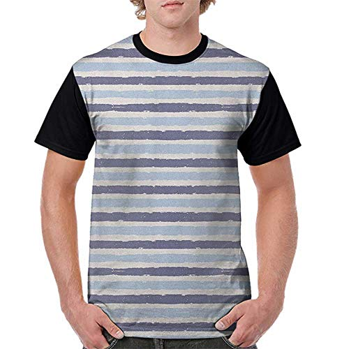 crabee Baseball Men Short Sleeve,Harbour Stripe,Abstract Soft Toned Sketchy Horizontal Stripes Artistic Pattern, Baby and Cadet Blue S-XXL Print Round Neck Short Sleeve Boys Pattern Cadet Shorts
