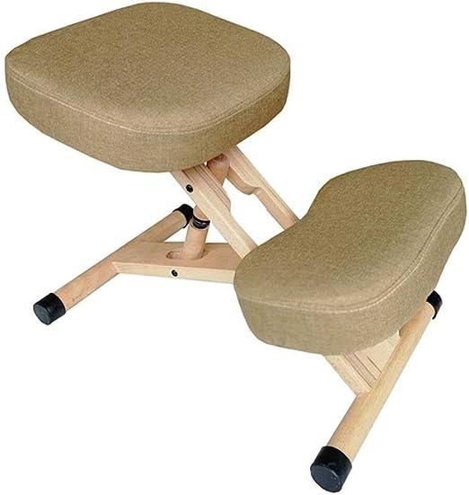 Pan&Pan Silla ergonómica Silla ergonómica de Madera Silla de Oficina con ortopedia Dolor de Espalda Asiento Taburete Ajustable Grueso Cómodos Cojines: Amazon.es: Hogar