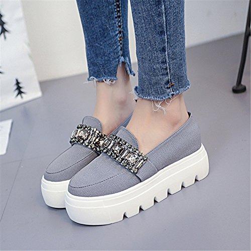 Slip Flat Autumn Flock Footwear Shoes Rhinestone Kenavinca 6 Women Fashion Shallow Shoes Platform Female On 2018 Gray Creepers Spring YHAxP