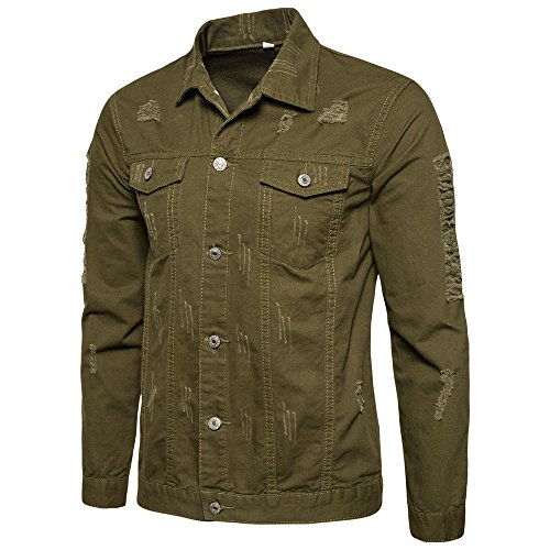 Realdo Mens Ripped Jeans Coat, Clearance Sale Men's Solid Button Down Shirt Hole Denim Jacket Outwear(Medium,Army Green) (Country Blazer Club)