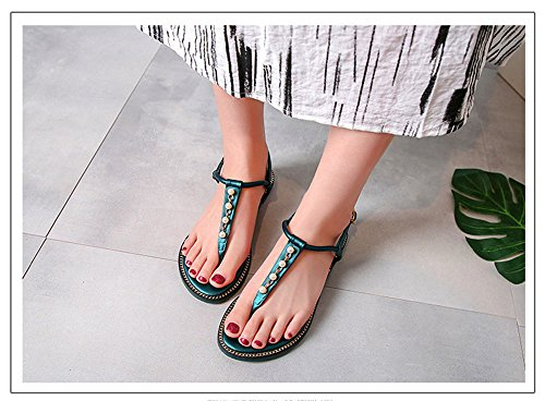 Da Scarpe A T Infradito Selvaggia straps Sandals Verde Shangyi Estate Studenti Roma Piatto Donna wCqvHx6t