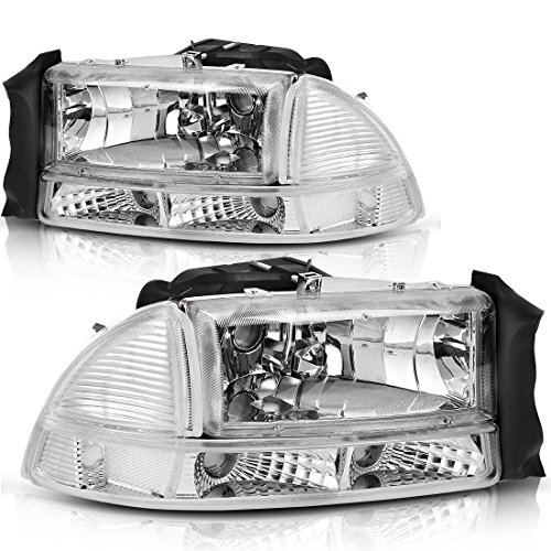 Headlight Assembly for 97-04 Dodge Dakota 98-03 Dodge Durango Headlamp Replacement with Park Signal Lamp Chrome Housing Clear Lens One-Year Warranty( Driver and Passenger Side) (Headlamp 55055170ae)