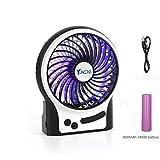 Yacig Mini Desk Fan, Rechargeable Desktop Fan, Adjustable 3 Level Wind Speeds with Update 2600mAh Rechargeable Battery and Decoration Light,4.5' - Black