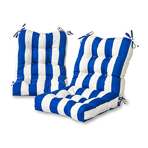 Cabana Furniture Outdoor - Greendale Home Fashions Outdoor Seat/Back Chair Cushion (Set of 2) in Cabana Stripe Blue