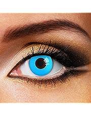 Partylens kleurlenzen - Blue Out - jaarlenzen inclusief gratis lenzendoosje - blauwe zachte contactlenzen