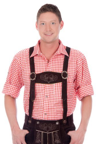 Authentic bavarian Trachten Shirt gingham checkered white red for leather trousers - White Gingham Red Dress