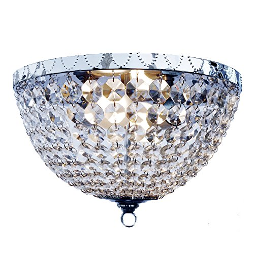 Elegant Designs FM1001-CHR 2 Light Genuine Crystal Rain Drop Ceiling Light Flushmount, Chrome