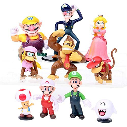 Z 10Pcs/Set Super Mario Bros Yoshi Toad Action Figures Cake Topper Kids Toy Gift from Z