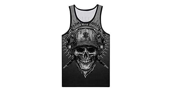 f058cf798c65d Amazon.com  vermers Clearance Deals Fashion Skull Tank Top for Men - Summer  Casual 3D Printed Muscle Sleeveless Vest(M