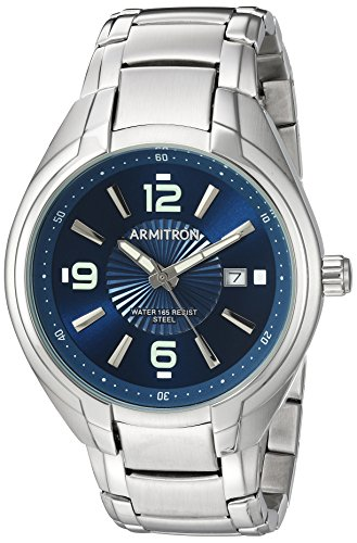Armitron Men's 20/5212NVSV Date Function Silver-Tone Bracelet Watch