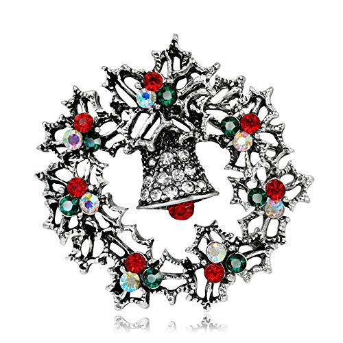 (1xCrystal Rhinestone Christmas Bell Wreath Brooch Pin Wedding Party Gift Jewelry (Main Color -)