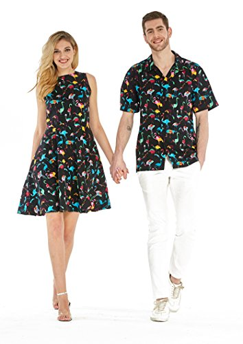 Couple Matching Hawaiian Luau Cruise Outfit Shirt Vintage Dress Flamingo Party Black White Men 2XL Women 2XL