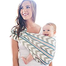 HOTSLINGS Adjustable Pouch Baby Carrier Sling, Large, Grey, Blue, White