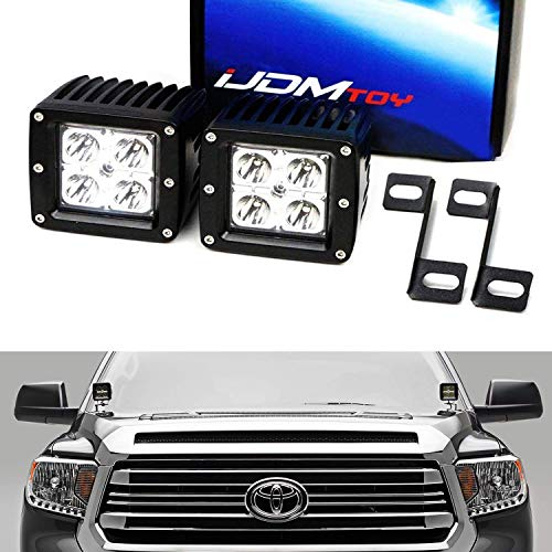 iJDMTOY A-Pillar LED Pod Light Kit For 2007-up Toyota Tundra, Includes (2) 20W High Power CREE LED Cubes, Windshield A-Pillar Mounting Brackets & On/Off Switch Wiring Kit