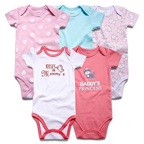 Romperinbox Unisex Baby Bodysuits 0-12 Months (9-12 Months, Cat Floral/Kisses for Mommy's)