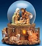 5.75'' Musical Lighted Holy Family Glitterdome by Fontanini