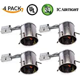 """Sunco Lighting 4 PACK - 6"""" inch Remodel LED Can Air Tight IC Housing LED Recessed Lighting- UL Listed and Title 24 Certified, TP24"""