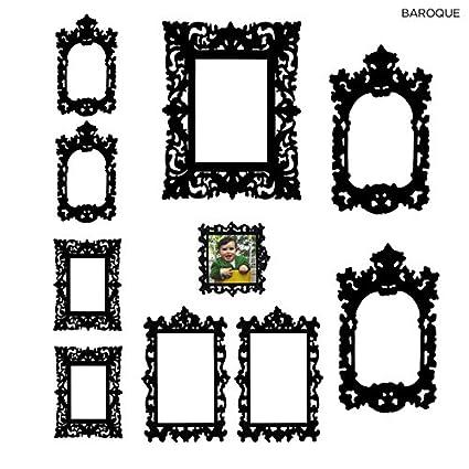 Amazon.com: Self Adhesive Wall Frame Decals Black Baroque Style Set ...