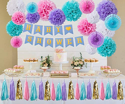 CADNLY Baby Shower Decorations Neutral for Boy Girl Boho Party Decorations Supplies Tissue Paper Pom Pom Tassel Garland Baby Shower Banner Paper Fans 50 pcs