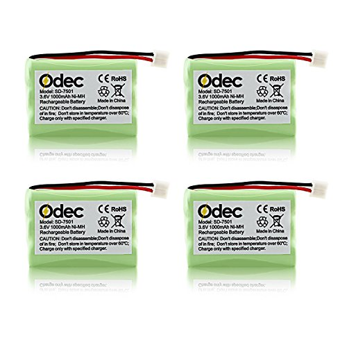 Price comparison product image Odec Cordless Phones Battery for Motorola SD-7501 SD-7502 SD-7561 SD-7581 MD4250 MD4260 MD7101 MD7151 MD7161 MD725 V-Tech 89-1323-00-00 8913230000 89-0099-00- 00 (4pack 3.6V Ni-MH 1000mAh)