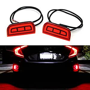 iJDMTOY JDM Style Brilliant Red LED Bumper Reflector Rear Marker Lights For 2016-up Honda Civic Sedan or Coupe (does not fit the Hatchback)