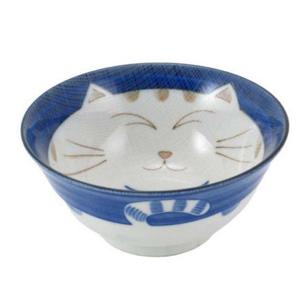 JapanBargain Smiling Blue Cat Porcelain Noodle Bowl