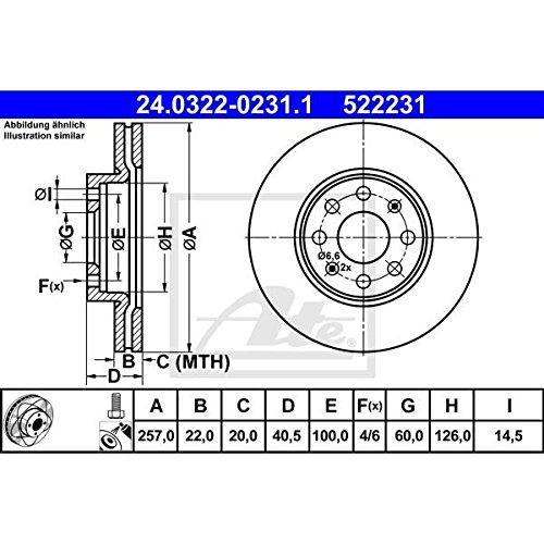 24.0120-0221.2 1x Bremsscheibe Bremse ATE