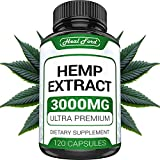 Hemp Oil Capsules - Best for Pain Relief & Anxiety (3000mg / 120 Capsules) Natural Hemp Extract - for Great Sleep, Rest and Health Benefits