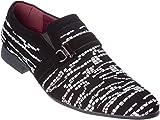 plum06 Mens Slip-On Loafer Black-White Dress-Shoes Size 10