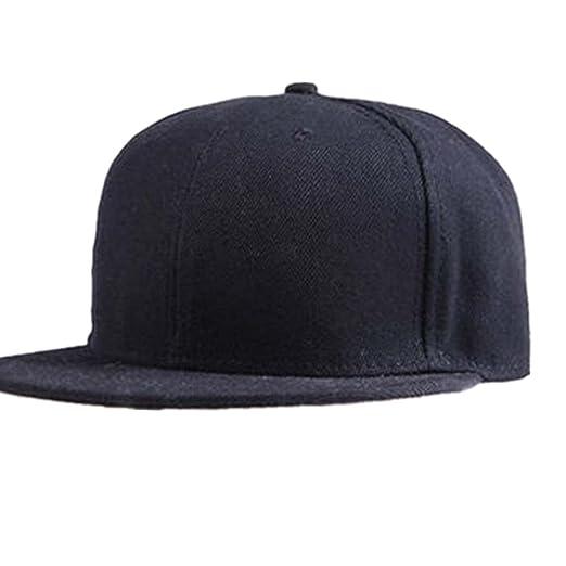 b96ccffce5b779 VESNIBA Fashion Unisex Plain Snapback Hats Hip-Hop Adjustable Baseball Cap  (Black)
