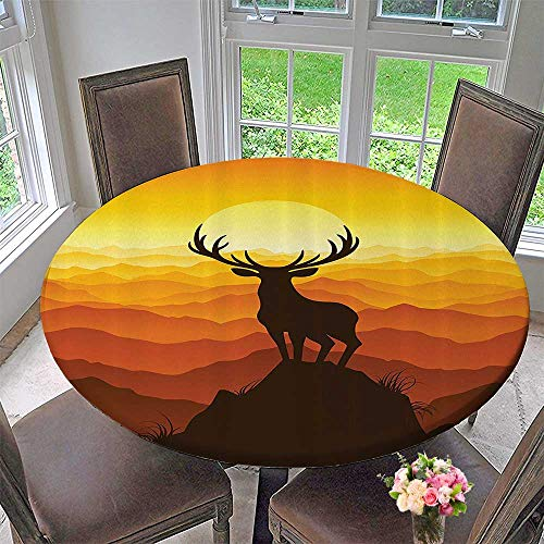 Mikihome Circular Table Cover Deer SunAdventure Wildlife Landscape Panoramic Valley Hill Silhouette Mount 55