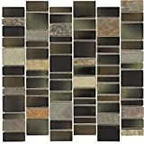 stone tile fireplace designs Mosaic Tile Outlet MTO0026   Modern Linear Brown Black Charcoal Glossy Glass Stone Tile