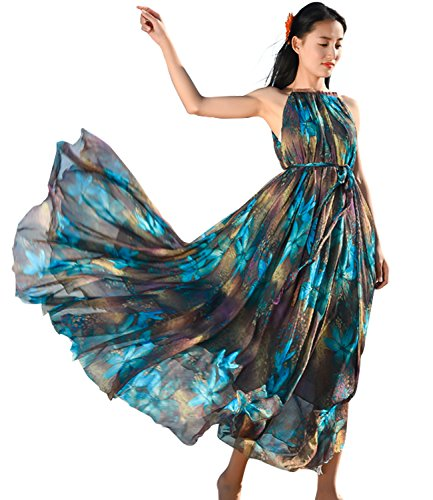 Medeshe Women's Chiffon Floral Holiday Beach Bridesmaid Maxi Dress Sundress (Medium Petite, Peacock Blue) (Peacock Party Dress)