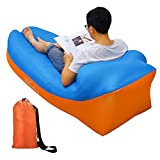 Inflatable Lounger, Air sofa, Fast Inflate by Wind or Air Pump, Waterproof Air Bag Chair Sofa, Perfect for Travelling, Camping, Hiking, Pool and Beach Parties, Lazy Hangout Couch Bed (Sky blue-Orange)