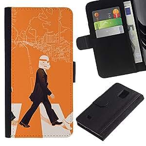 LECELL--Cuero de la tarjeta la carpeta del tirón Smartphone Slots Protección Holder For Samsung Galaxy Note 4 IV -- Arte Lennon Storm Trooper Pop --