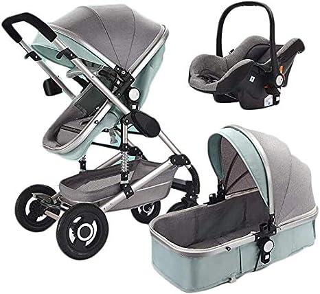 Opinión sobre OESFL Cochecito compacto y ligero cochecito de bebé for el niño, cochecitos 3-en-1 cochecito, multi-función de dos vías de alta paisaje sentarse y acostarse plegable portátil a prueba de golpes de via