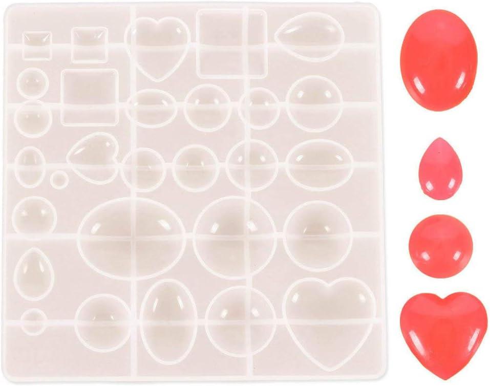 DUBENS - Cabujón de piedras preciosas ovaladas de silicona, forma de lágrima de té, forma redonda, para polímero, artesanía, resina epoxi colgante, pendientes de malla grande