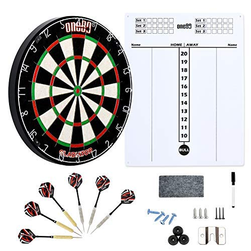 (ONE80 Gladiator Dartboard with Compeletly Staple Free Wire for Maximum Scoring Potential and Less Bounce Outs, Large Scoreboard, Two Sets of Steeltip Darts)