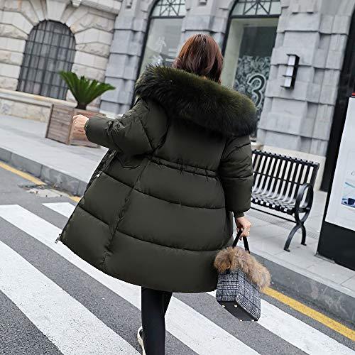 Chaud Costume Pour Femmes D'hiver Coton Amuster En Moyen Rembourrée Long Fourrure À Matelassée Femme Veste Capuche Vert Gilet Col Avec De 4nHIHES