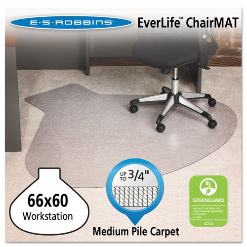 ES Robbins Ever life Chair Mats, L-Workstation with Lip, 66 x 60, Clear (ESR122775) by ES Robbins