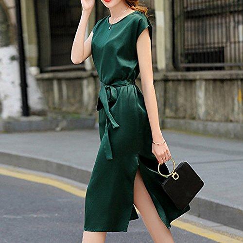 Knee girl Übergröße Damen Kleid Abendkleid Kleider Flowered E Grün Seide Long S9959 Cocktail TAIFxqRw