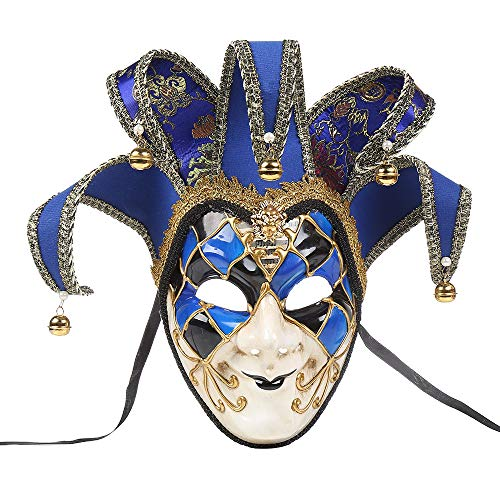 LiPing Full Face Weird Venetian Joker Masquerade Theater Mask Mardi Gras Party Ball Mask for Men Women Party Christmas Halloween Costume Mask (Blue)